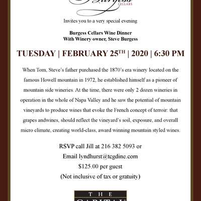 Burgess Cellers Wine Dinner