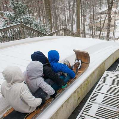 Tobogganing at The Chalet in Mill Stream Run Reservation