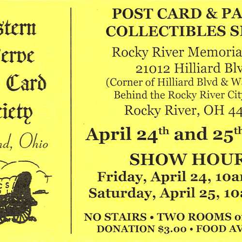 The Western Reserve Post Card Society 47th Annual Postcard and Paper Show and Sale